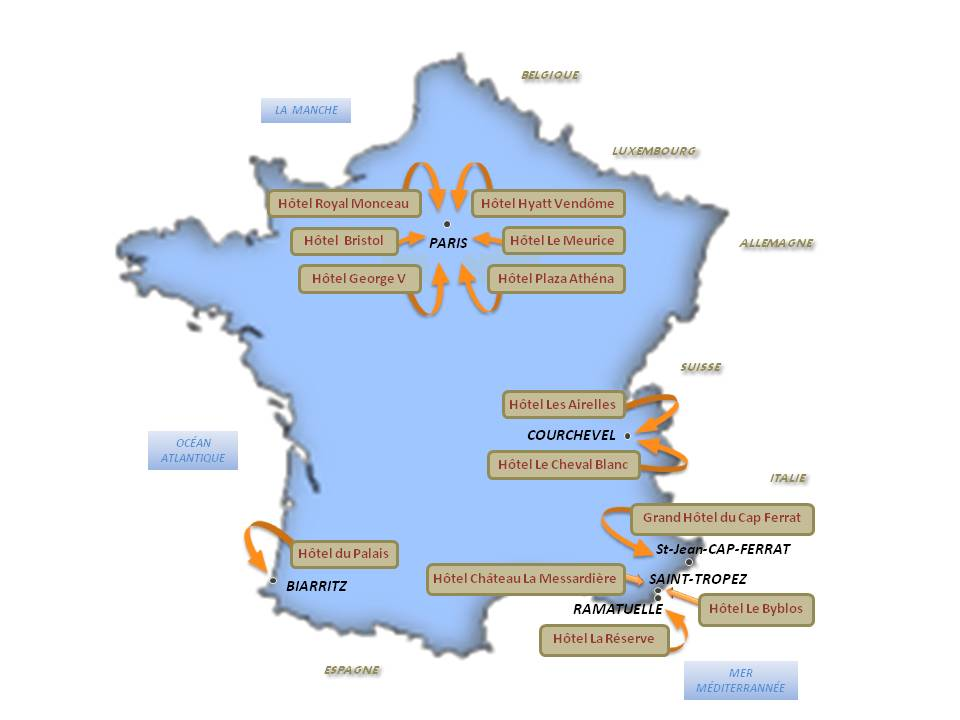 Carte des 13 Hotels Palace en France - Situation et ...